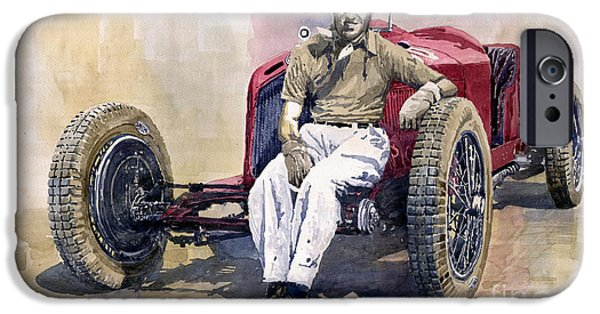 Vintage Cars iPhone Cases - Alfa Romeo Monza Tazio Nuvolari 1932 iPhone Case by Yuriy  Shevchuk