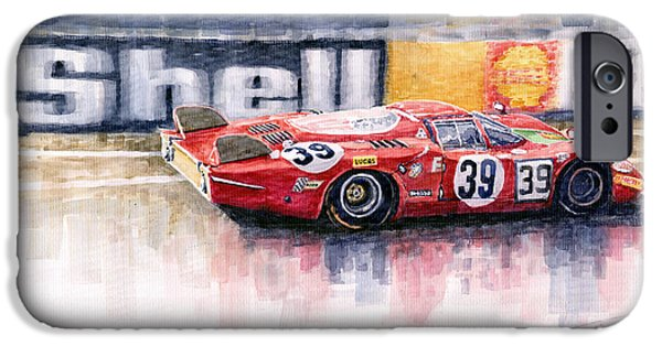 Alfa Romeo iPhone Cases - Alfa Romeo T33 B2 Le Mans 24 1968 Galli Giunti iPhone Case by Yuriy  Shevchuk