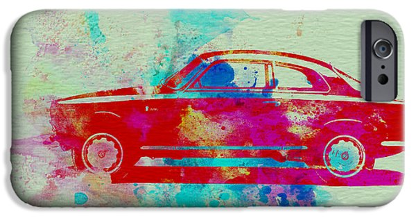 Automotive Drawings iPhone Cases - Alfa Romeo  Watercolor 2 iPhone Case by Naxart Studio