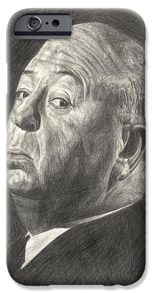 Celebrities Art Drawings iPhone Cases - Alfred Hitchcock iPhone Case by Michael Morgan