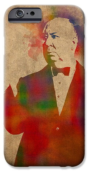 Parchment iPhone Cases - Alfred Hitchcock Watercolor Portrait on Worn Parchment iPhone Case by Design Turnpike