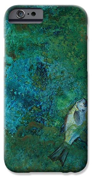 Alga Paintings iPhone Cases - Algae Bloom iPhone Case by Art Nomad Sandra  Hansen