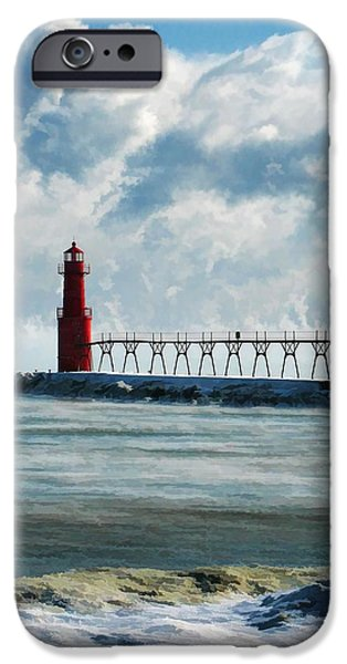 Lighthouse iPhone Cases - Algoma Pierhead Lighthouse iPhone Case by Christopher Arndt