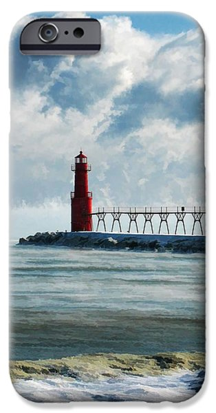 Chicago Paintings iPhone Cases - Algoma Pierhead Lighthouse iPhone Case by Christopher Arndt