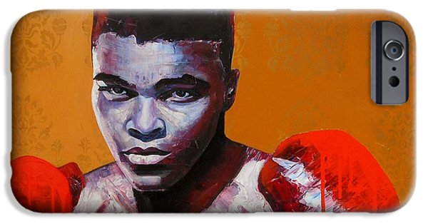 Champ Boxer iPhone Cases - Ali iPhone Case by Angie Wright