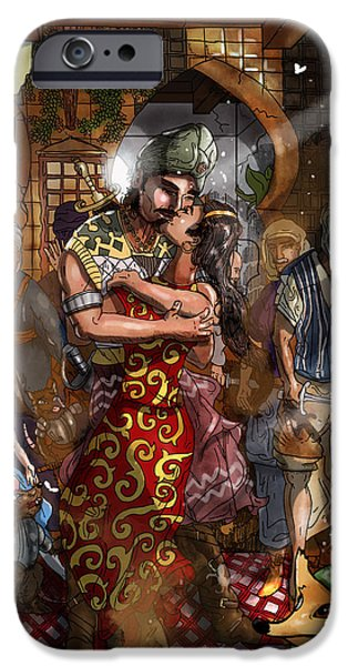 Baba Paintings iPhone Cases - Ali Baba and Mina The Kiss iPhone Case by Reynold Jay
