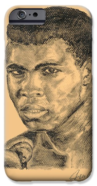 Champ Boxer iPhone Cases - Ali iPhone Case by Jean Kostal