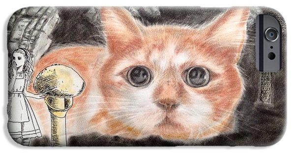 Alice In Wonderland Pastels iPhone Cases - Alice and big cat iPhone Case by Keiko Olds