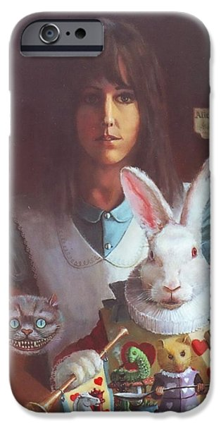 Alice In Wonderland iPhone Cases - Alice and Friends iPhone Case by Henry Godines
