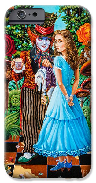 Mad Hatter iPhone Cases - Alice and Mad Hatter. Part 2 iPhone Case by Igor Postash