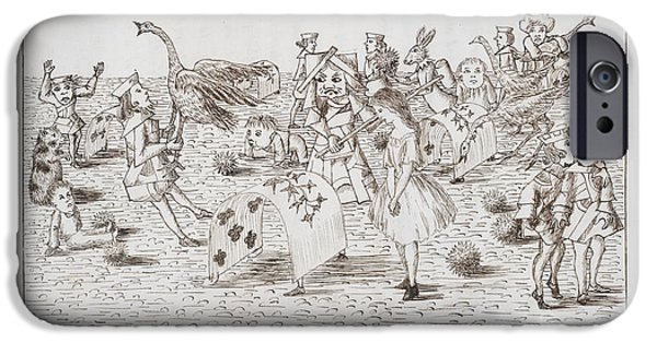 Alice In Wonderland iPhone Cases - Alice And Red Queen Play Croquet iPhone Case by British Library