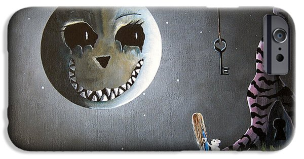 Alice iPhone Cases - Alice In Wonderland Original Artwork - Alice And The Cheshire Moon iPhone Case by Shawna Erback