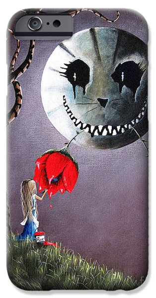 Creepy iPhone Cases - Alice In Wonderland Original Artwork - Alice And The Dripping Rose iPhone Case by Shawna Erback