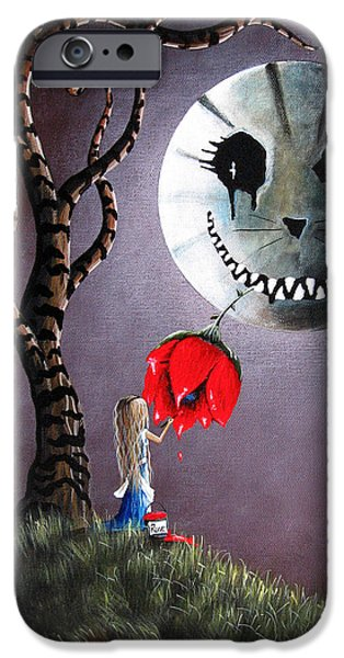 Alice iPhone Cases - Alice In Wonderland Original Artwork - Alice And The Dripping Rose iPhone Case by Shawna Erback
