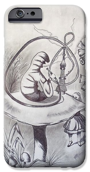 Alice In Wonderland Drawings iPhone Cases - Alice and The Hookah Smoking Caterpillar 1865 iPhone Case by J D  Fields