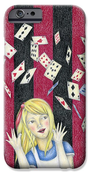 Alice In Wonderland Drawings iPhone Cases - Alice and the pack of cards iPhone Case by MC Iglesias