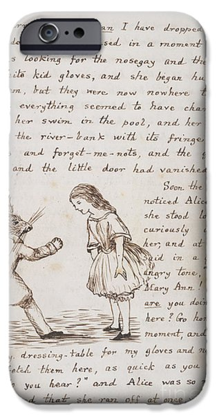 Alice In Wonderland iPhone Cases - Alice And The White Rabbit iPhone Case by British Library