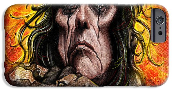 Alice iPhone Cases - Alice Cooper iPhone Case by Andre Koekemoer