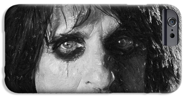 American Pastels iPhone Cases - Alice Cooper iPhone Case by Antony McAulay