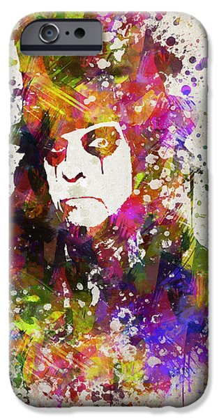 Alice iPhone Cases - Alice Cooper in Color iPhone Case by Aged Pixel