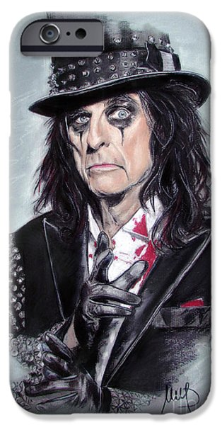 Heavy iPhone Cases - Alice Cooper iPhone Case by Melanie D