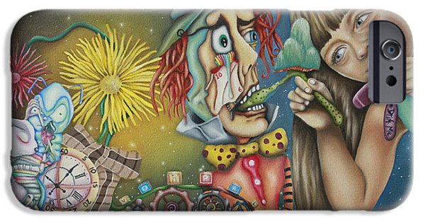 Mad Hatter iPhone Cases - Alice iPhone Case by Desiree Aponte