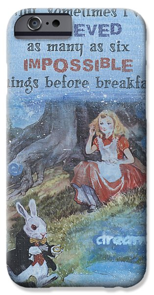 Alice In Wonderland Mixed Media iPhone Cases - Alice Dream iPhone Case by Donine Wellman