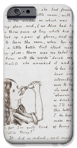 Alice In Wonderland iPhone Cases - Alice Drinks To Grow Taller iPhone Case by British Library