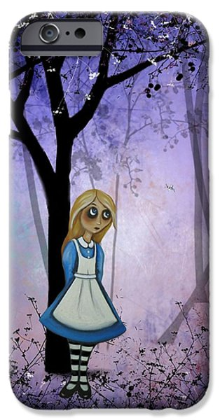 Wonderland Art iPhone Cases - Alice in an Enchanted Forest iPhone Case by Charlene Murray Zatloukal