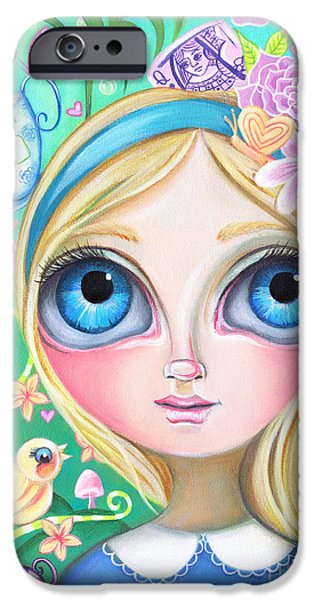 Tea Party iPhone Cases - Alice in Pastel Land iPhone Case by Jaz Higgins