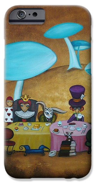 Alice in Wonderland Art - Mad Hatter's Tea Party I iPhone Case by Charlene Murray Zatloukal
