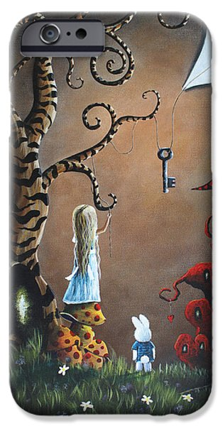 Rabbit iPhone Cases - Alice In Wonderland Original Artwork - Key To Wonderland iPhone Case by Shawna Erback