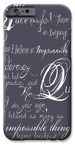 Alice In Wonderland iPhone Cases - Alice in Wonderland version 2 deep lavender iPhone Case by The Sweet Drawer