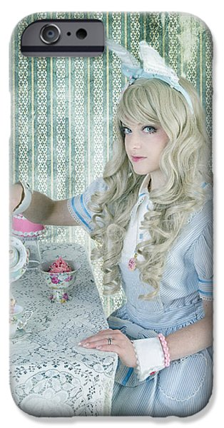 Tea Party iPhone Cases - Alice Lolita iPhone Case by Christine Holding