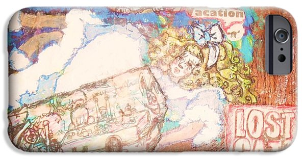Alice In Wonderland Mixed Media iPhone Cases - Alice on vacation iPhone Case by Audrey Mccain