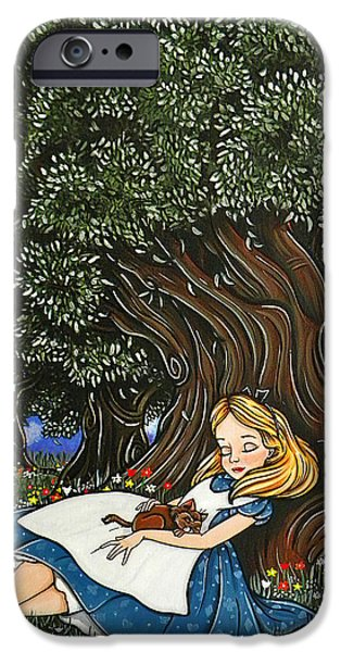 Alice In Wonderland Mixed Media iPhone Cases - Alice under the tree iPhone Case by Laura A