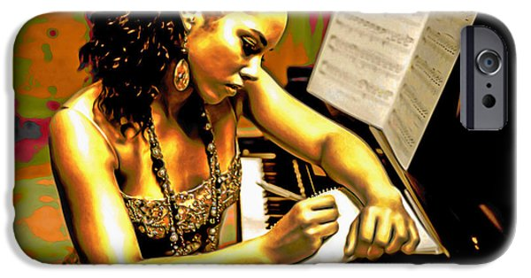 Piano iPhone Cases - Alicia Keys iPhone Case by  Fli Art