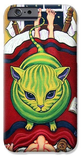 Outer Space Paintings iPhone Cases - Cat - Alien Abduction iPhone Case by Rebecca Korpita