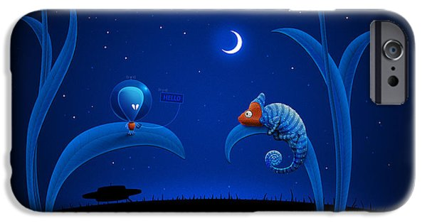 Chameleon iPhone Cases - Alien and Chameleon iPhone Case by Gianfranco Weiss