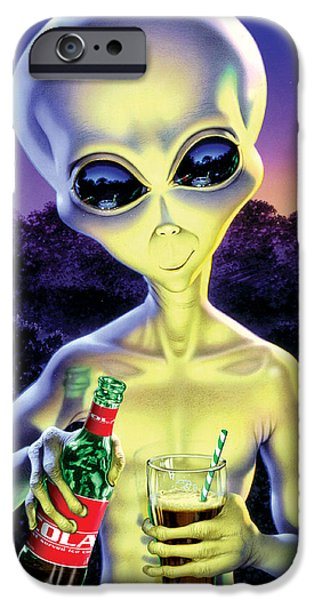 Property iPhone Cases - Alien Cola iPhone Case by Steve Read
