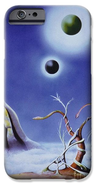 Airbrush Mixed Media iPhone Cases - Alien iPhone Case by David Neace