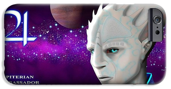 Science Fiction Digital Art iPhone Cases - Alien from Jupiter iPhone Case by John Wills