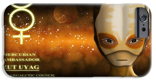 Science Fiction Digital Art iPhone Cases - Alien from Mercury iPhone Case by John Wills
