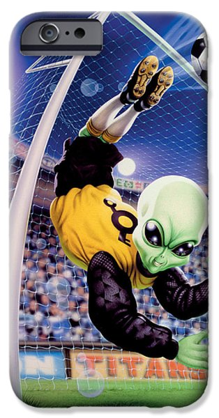 Property iPhone Cases - Alien Goal Keeper iPhone Case by Steve Read