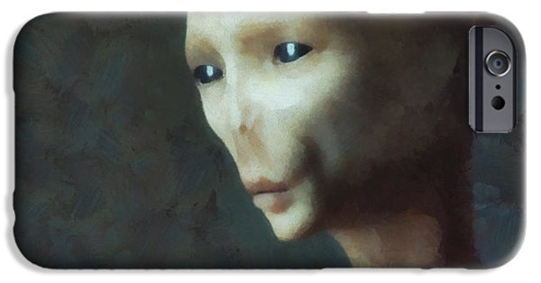 Strange iPhone Cases - Alien Grey Thoughtful  iPhone Case by Pixel Chimp