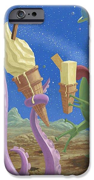 alien ice cream iPhone Case by Martin Davey