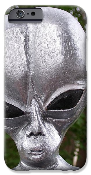 Silver Sculptures iPhone Cases - Alien iPhone Case by Michael Pasko