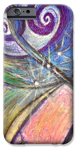 Mixed Media Pastels iPhone Cases - Alien Night iPhone Case by Rich Graham