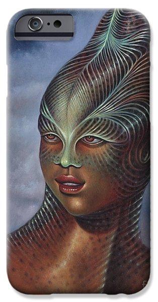 Reptile Paintings iPhone Cases - Alien Portrait I iPhone Case by Ricardo Chavez-Mendez
