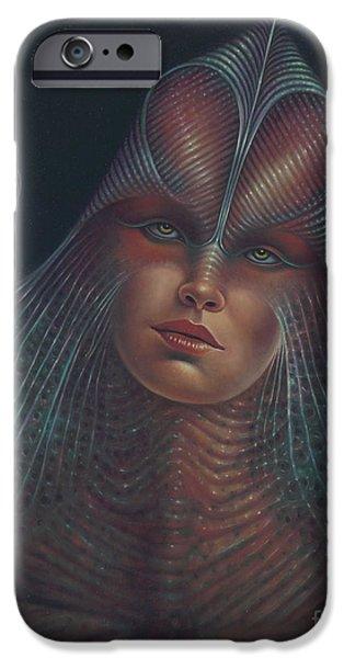 Reptile Paintings iPhone Cases - Alien Portrait Il iPhone Case by Ricardo Chavez-Mendez